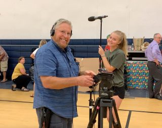 Filming at Tools 2 Schools for @cis_spokanecounty. You'll notice how happy the crew is right after lunch. • • • • • #communitiesinschools #bts #btsstills #funonset #producer #productioncompany